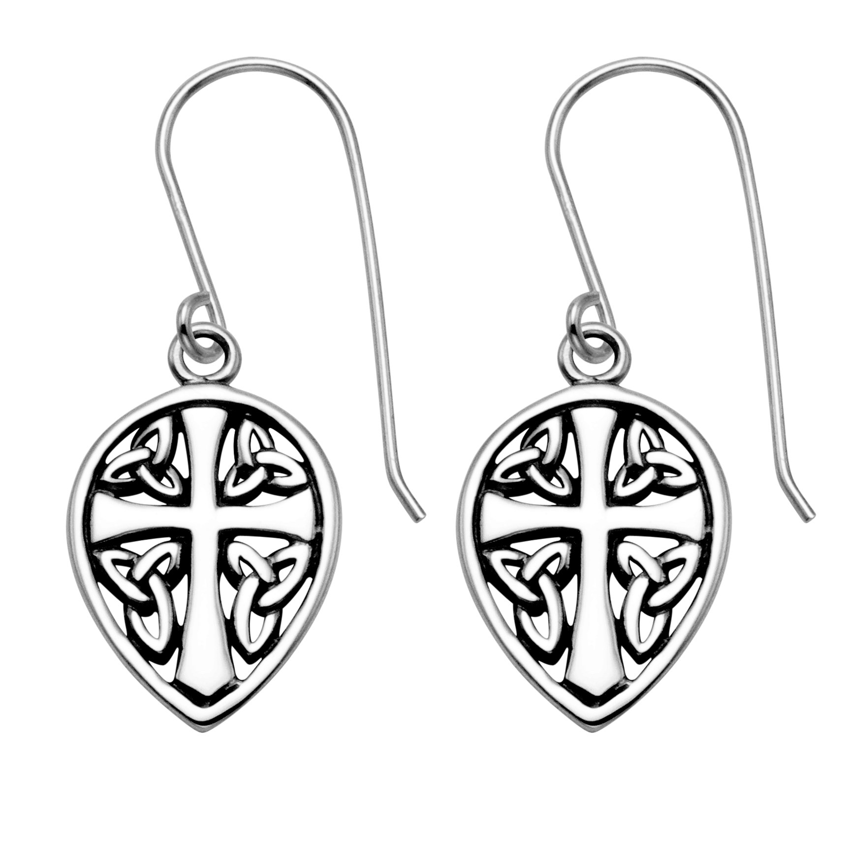 Sterling Silver Celtic Cross & Sheild Wire Earrings by Wild Things (Image #1)