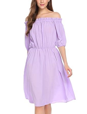 654564c3963c ELESOL Women Slash Neck Empire Waist Strapless A Line Shoulder Dress Purple  S