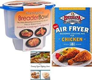 Cajun Chicken Seasoning Mix | Breader Shaker Bowl | Cajun Dipping Sauce Recipe | Louisiana Air Fryer Seasoning Coating Mix and The Original Breader Bowl Bundle