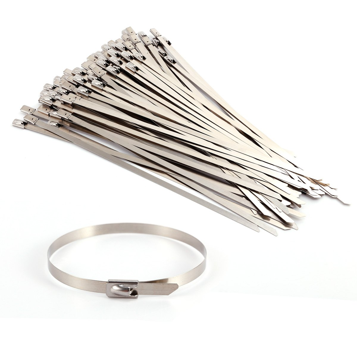 Stainless Steel Metal Cable Ties Tie Zip Wrap Exhaust Heat Straps Induction Pipe 100pcs SurePromise Limited