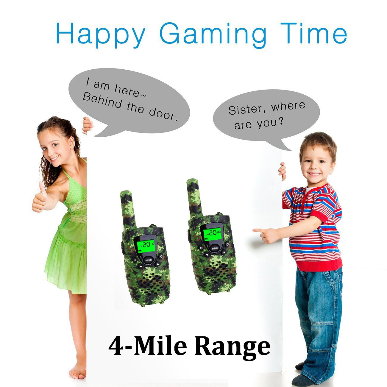 Walkie Talkies for Kids, FAYOGOO 22 Channel Walkie Talkies Two Way Radio 3 Miles (Up to 4 Miles) Long Range Set Mini Walkie Talkies for Kids, Toys for 3 Year Old Up Boys and Girls (Camo Green) by FAYOGOO (Image #4)