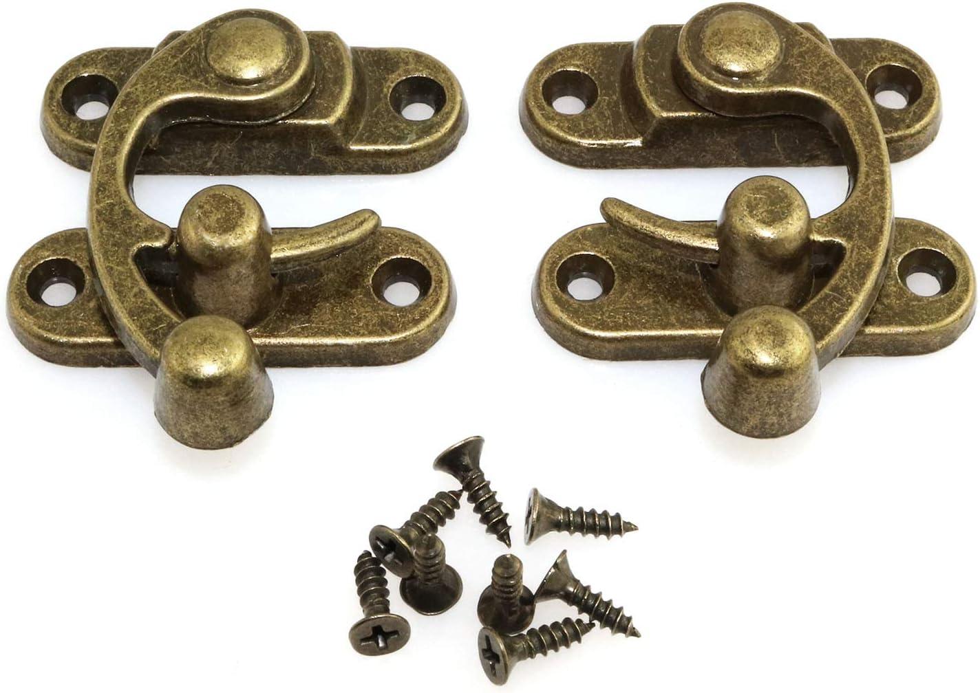 32x27mm Metal Buckle Horn Lock Hook Left Latch Hook Jewelry Box Hasp Bronze