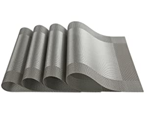 SICOHOME Placemats Set of 4,Grey Vinyl Placemats