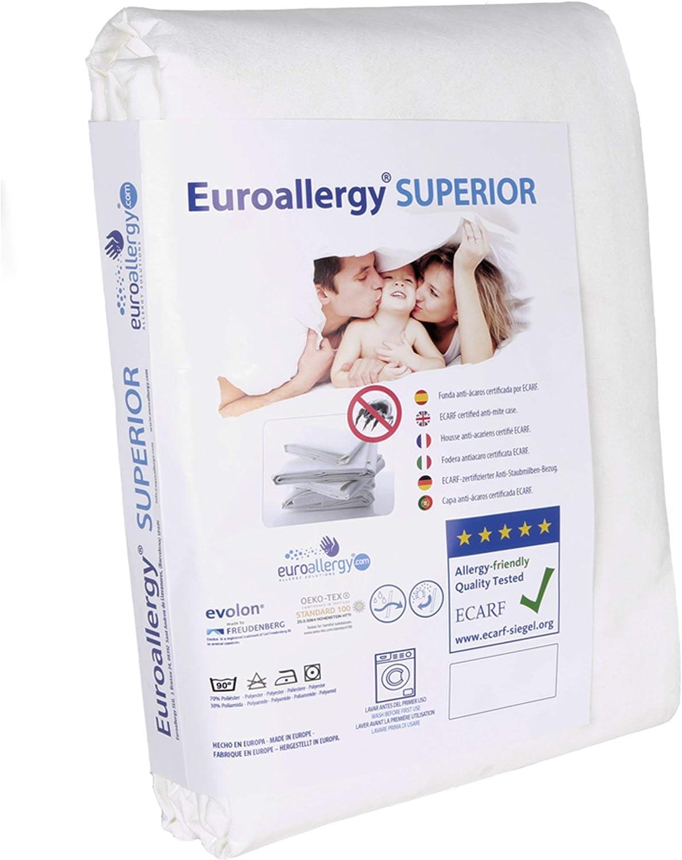 Euroallergy Superior | Funda Antiacaros Certificada | Protector con Cremallera para Colchón Individual | Color Blanco | Muchas Medidas (90x200 x 20 cm.)