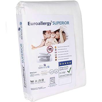 EUROALLERGY Superior | Funda Antiacaros Certificada | Protector con Cremallera para Colchón Individual | Color Blanco | Muchas Medidas | 90 x 200 x 20 cm.