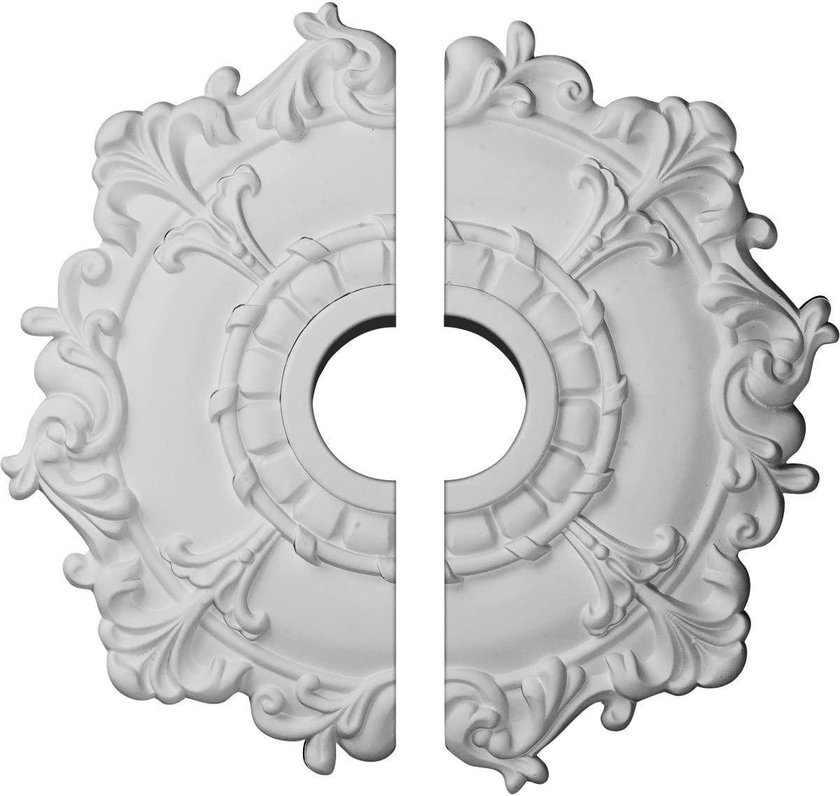 "Ekena Millwork CM18RL2 Riley Ceiling Medallion, 18""OD x 3 1/2""ID x 1 1/2""P (Fits Canopies up to 4 5/8""), Factory Primed"
