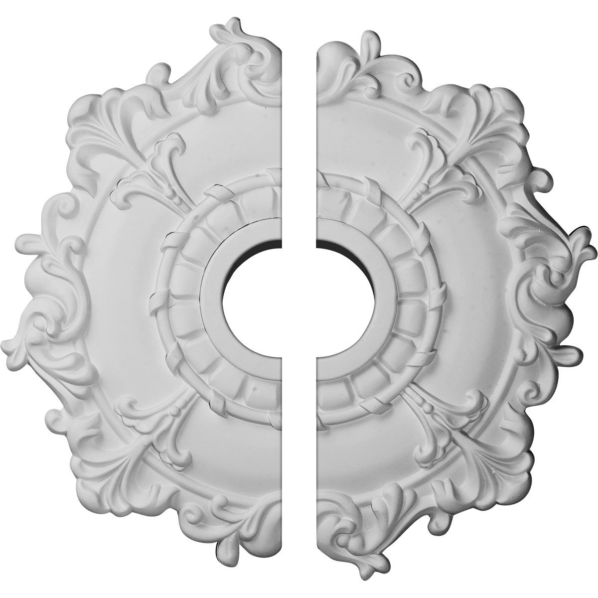 Ekena Millwork CM18RL2 18'' OD x 3 ID x 1 1/2'' P Riley Ceiling Medallion, Two Piece (Fits Canopies up to 4 5/8''), Factory Primed and Ready to Paint