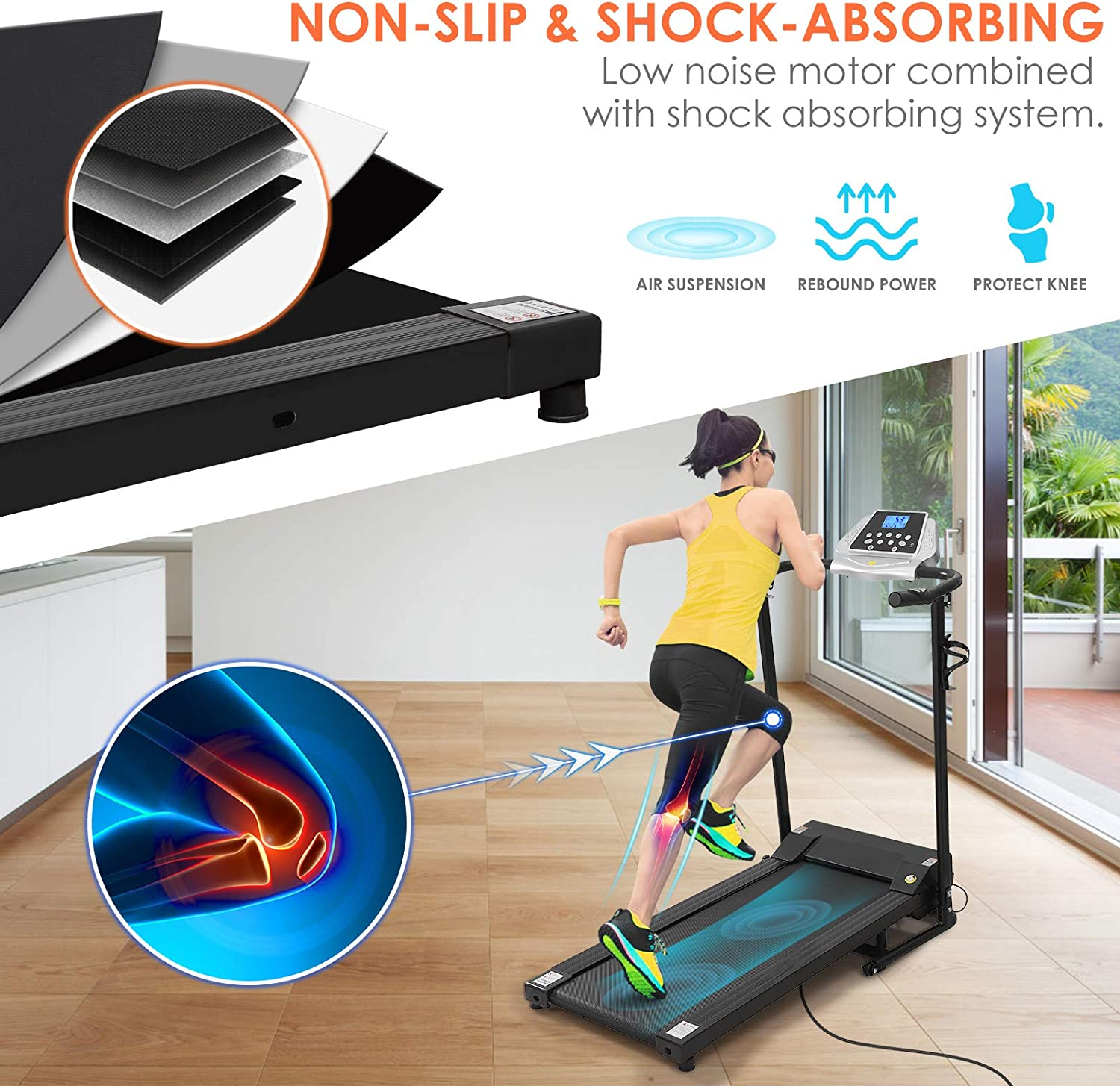 BESPORTBLE Treadmill Electric Folding Treadmill with LCD Display 12 Preset Programs Motorized Running Jogging Machine for Home Gym Office Workout (Shipping from US, Delivery Within 3-6 Working Days)