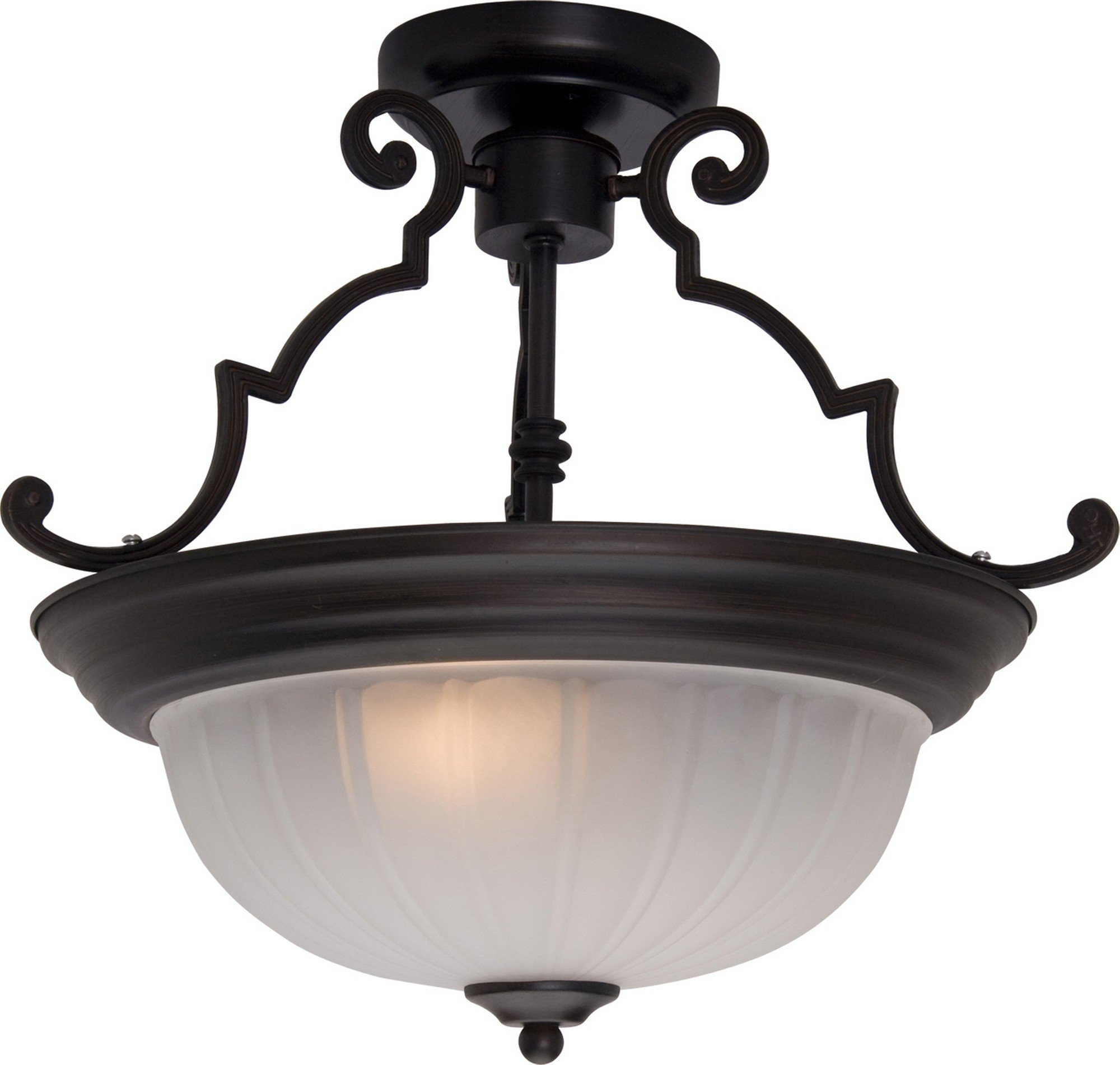Maxim 5833FTOI Essentials 2-Light Semi-Flush Mount, Oil Rubbed Bronze Finish, Frosted Glass, MB Incandescent Incandescent Bulb , 40W Max., Dry Safety Rating, Standard Dimmable, Linen/Silver Leaf Fa Shade Material, 800 Rated Lumens