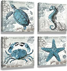 Wall Art for bathrooms Turtle Bathroom Decor Ocean Decor Hawaii Decor Grey Bathroom decore Nautical Decoration Children's Room Wall art12 x 12 Inch x 4 Panel Canvas Prints Wooden Frames for Art