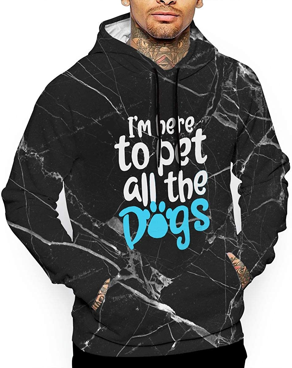 Ou50IL@WY Mens Im Here to Pet All The Dogs Pullover Hoodie Warm 100/% Cotton Sports Pullover with Pocket for Men