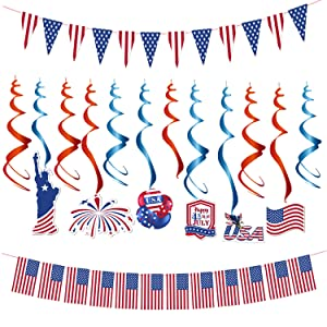4th of July Patriotic Decorations Set, Fourth of July Foil Hanging Swirl Kit USA Polyester Bunting Pennant American Flag Banners, Independence Day Red White Blue for election Party Decor Supplies