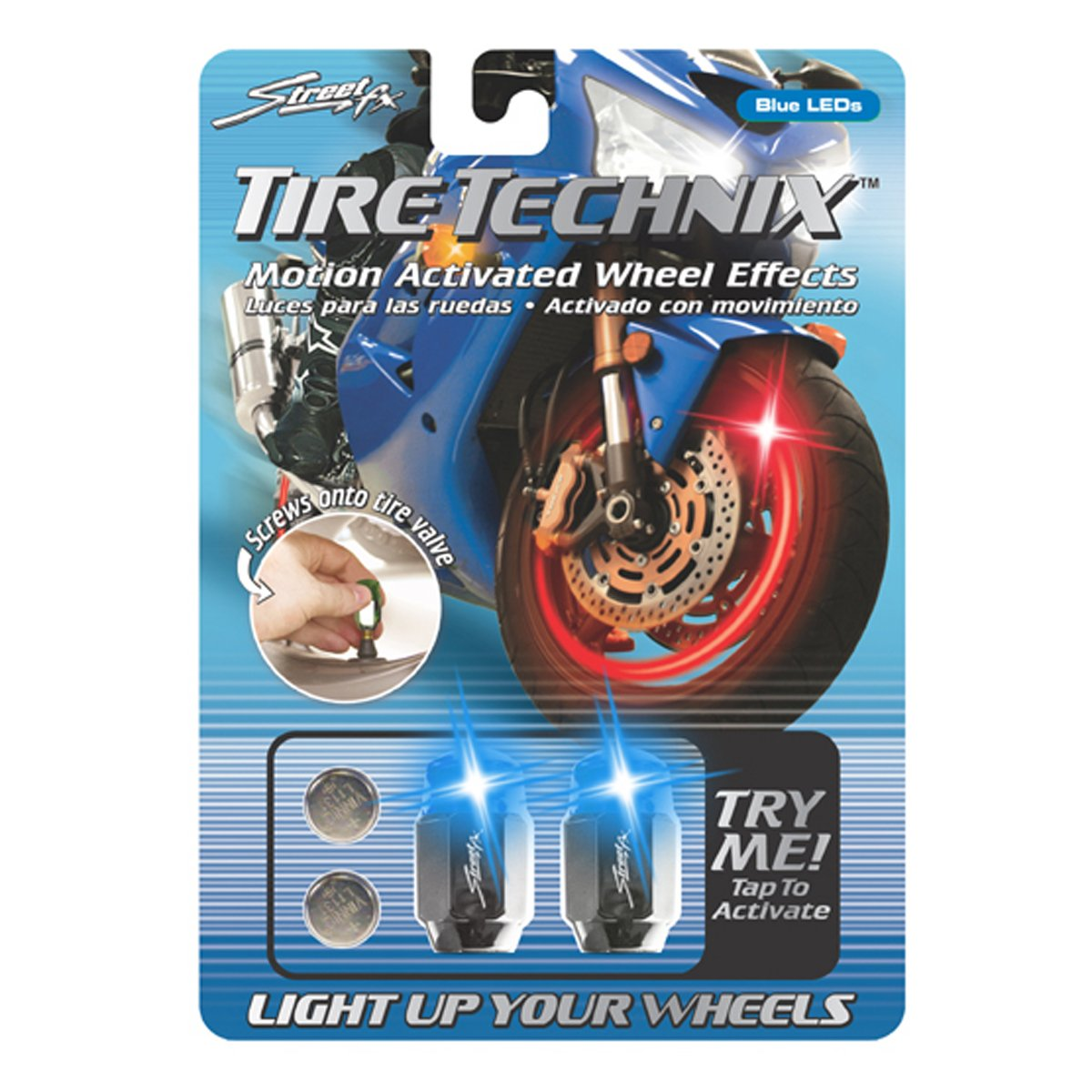 Street FX 1042198 Tire Technix Moto Hex Blue Light