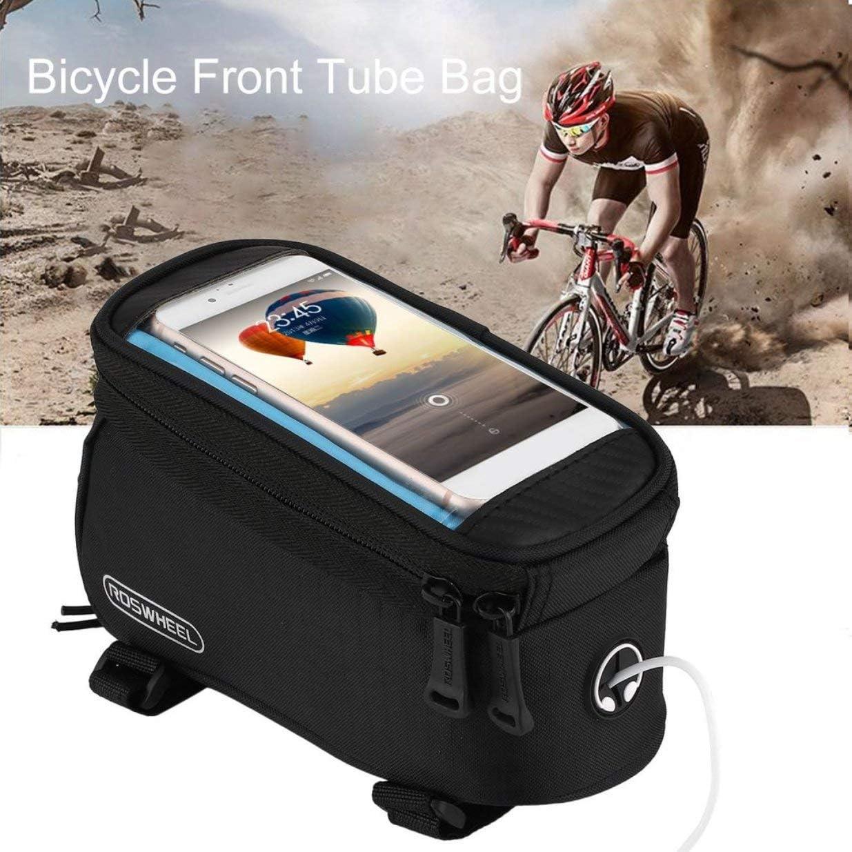 Sairis ROSWHEEL V/élo V/élo V/élo Sacs Sacoches Cadre Avant Tube Tube Sac /À /Écran Tactile Sac pour T/él/éphone Mobile Mountain Bike-Black