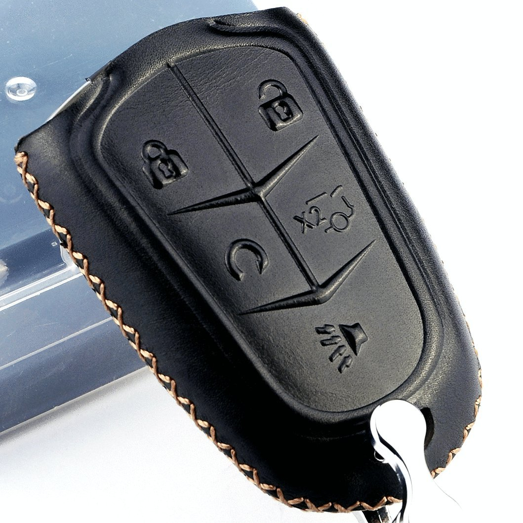 Cadtealir Calfskin Genuine Leather 2000-2018 cadillac escalade cts srx xt5 ats sts CT6 Smart Prox Remote key fob cover case holder only for 5 and 4 3 buttons