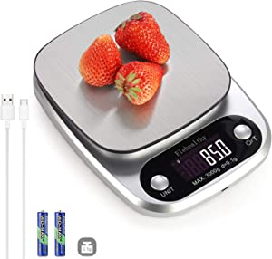 0.1g High Precision Kitchen Scale, Rechargable Food Scale Digital 3KG/6.6lbs,9 Measurement Units, Brushed Stainless Steel, 2AAA Batteries Included (3KG/0.1g- Silver)