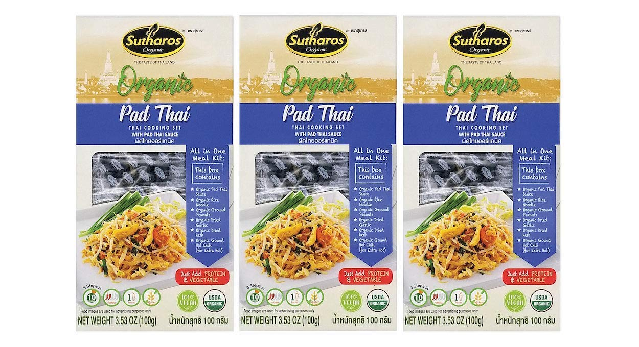 Sutharos ORGANIC Pad Thai Noodle Meal Kits (3 Pack) VEGAN, GLUTEN FREE, Imported from Thailand, Easy to Cook, Comes with Organic Brown Rice Noodles, Pad Thai Sauce, Peanuts, Herbs & Spices (Pad Thai)