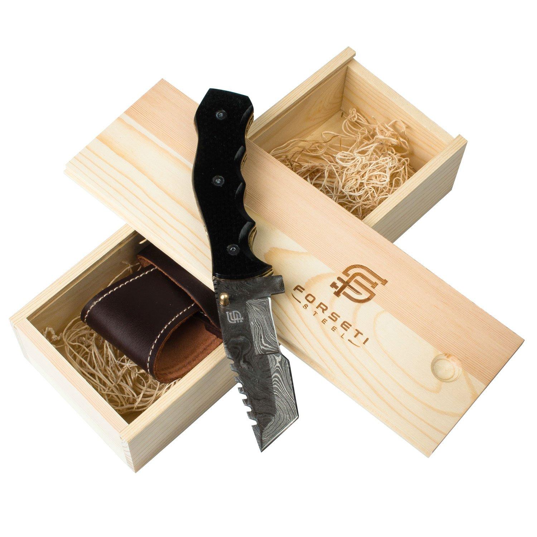 Kenta Damascus Steel Tanto Folder with a Brass Liner Lock, Black Linen Micarta Handle, and Custom Leather Sheath