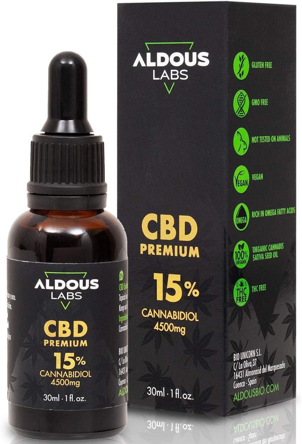 Auténtico CBD Oil 15% | Aceite de Cáñamo Bio enriquecido con 15% CBD | 30ml - 1200 gotas Aceite CBD Premium | Ayuda a reducir estrés, ansiedad y dolor | Hemp Oil con 4500mg de Cannabidiol | 0% THC