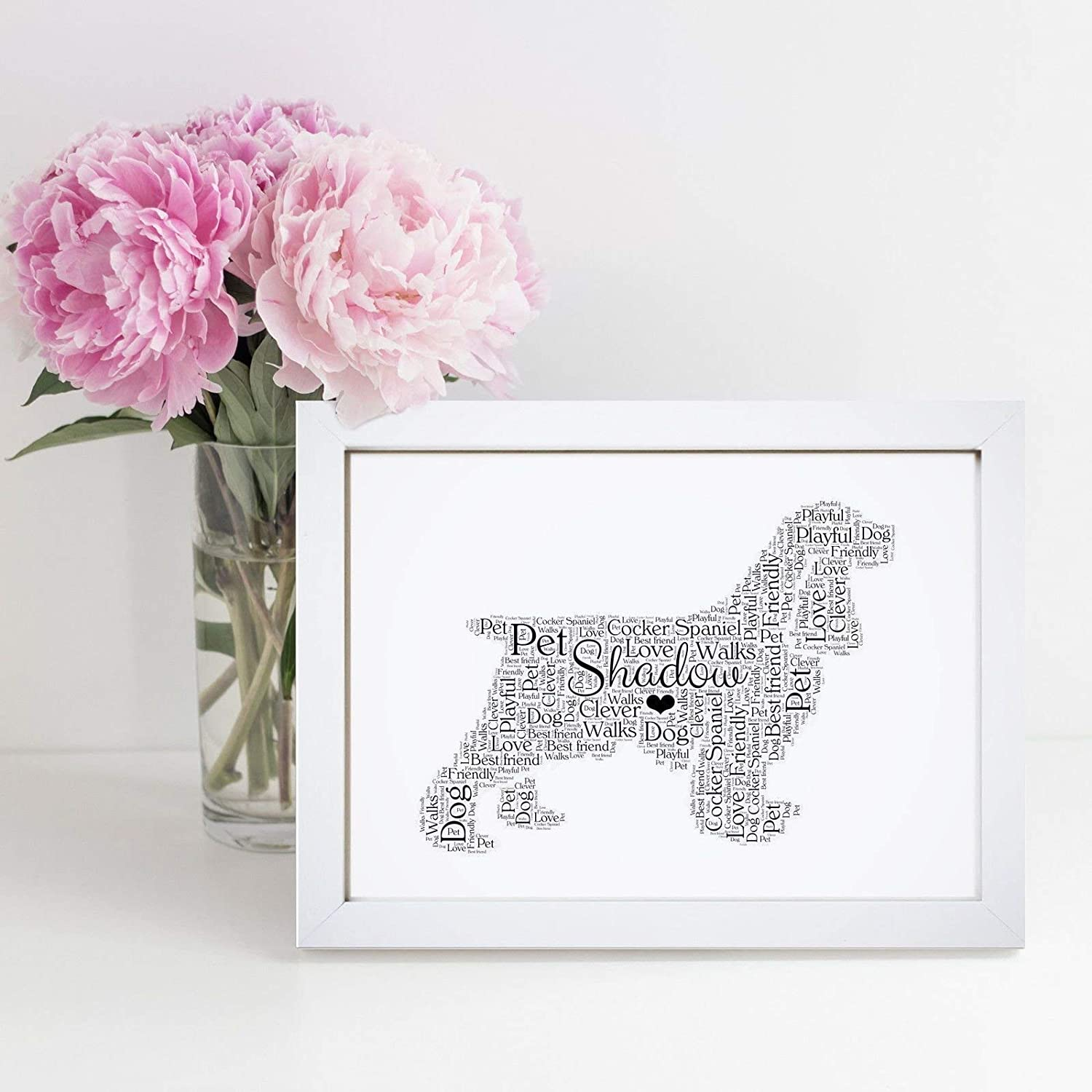 Personalised Cocker Spaniel Word Art Print - A5, A4 Prints & Framed