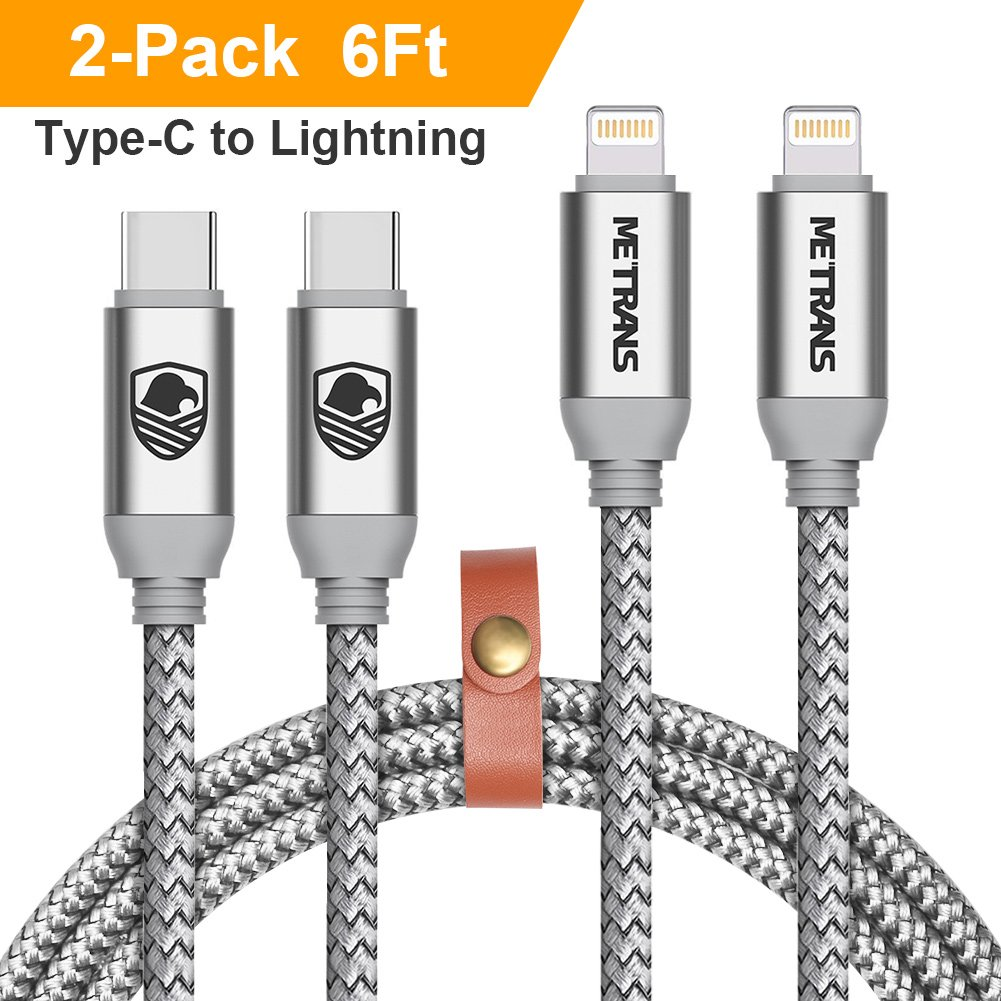 USB C to Lightning Cable, METRANS 2Pack 6FT 2M Nylon Braided Type C Charging and Syncing Cord for iPhone X/ 8/8 Plus iPad Connect to Macbook and Other USB C Devices (Silver)