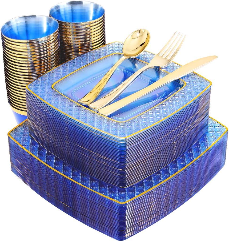 "Nervure 150PCS Blue Plastic Plates&Gold Silverware Set:25 Dinner Plates 9.5 "", 25 Dessert Plates 7.6 "", 25 Cups 9Oz , 25 Gold Forks, 25 Gold Knives, 25 Gold Spoons."