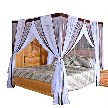 Amazon.com: Mengersi Bed Canopy Curtain Mosquito Net - 4 ...