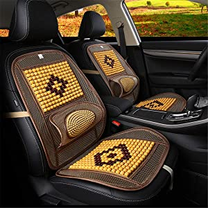 Wood Beaded Comfort Seat Cover with Cooling Ventilated Mesh Lumbar Back Brace Massage Support Cushion for Car Seat Chair