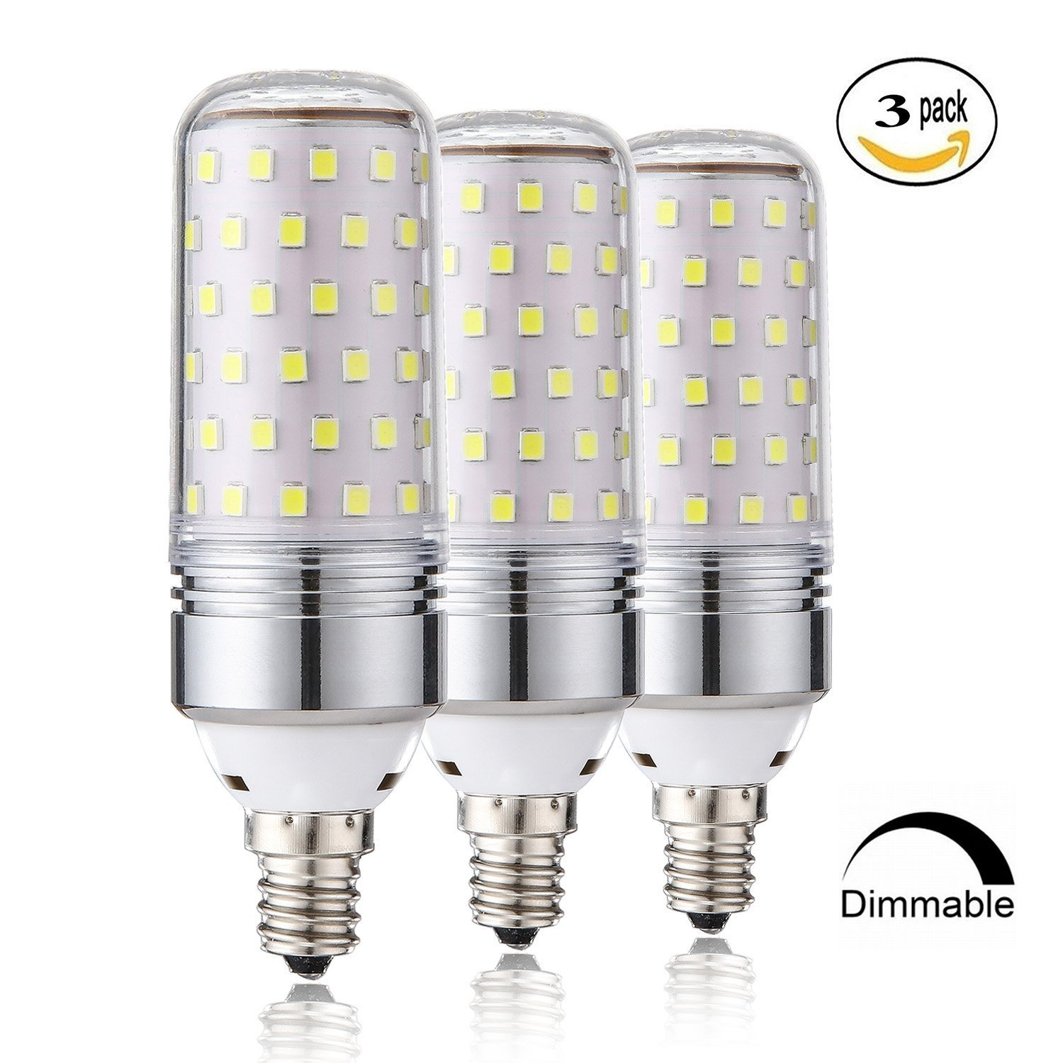 15W Dimmable LED Corn Bulbs,E12 LED Candelabra Light Bulbs 100 Watt Equivalent, 1000lm, Daylight White 6000K LED Chandelier Bulbs, Decorative Candle Base E12 Dimmable LED Lamp, Pack of 3