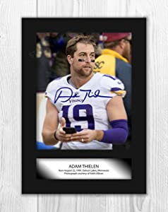 Engravia Digital Adam Thielen Minnesota Vikings Poster Signed Autograph Reproduction Photo A4 Print (Unframed)
