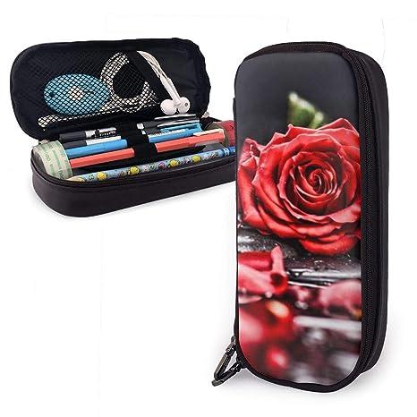 Estuche para lápices con diseño de pétalos de rosas rojas para ...