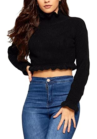 907b2b7791c RIDDLED WITH STYLE Ladies Cropped Knitted Top Ruffle Frill Hem Jumper Women  Long Sleeve Top at Amazon Women's Clothing store:
