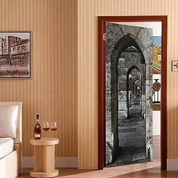 La nueva etiqueta engomada de la decoración del arco de piedra de Amazon La etiqueta engomada de la puerta de bricolaje a prueba de agua puede quitar las pegatinas de la puerta: