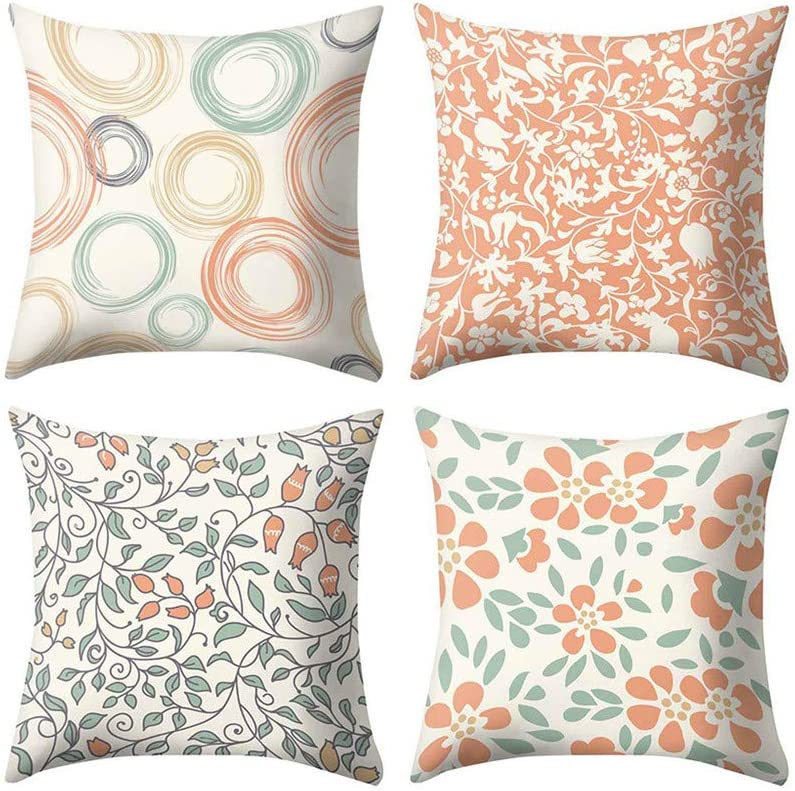 Amazon Com Throw Pillow Covers For Couch 4 Pack Modern Printed Patterns Decorative Sofa Square Cushion Pillow Cases 18 X 18 Inch Furniture Decor