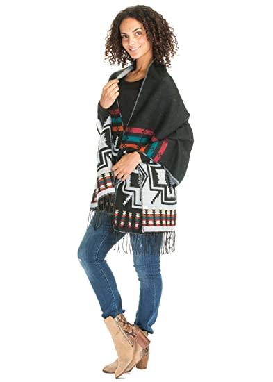 688403e9c Ladies/Women's Fashion Aztec Blanket Poncho Cape Cardigan Cloak With Fringe  (One Size,