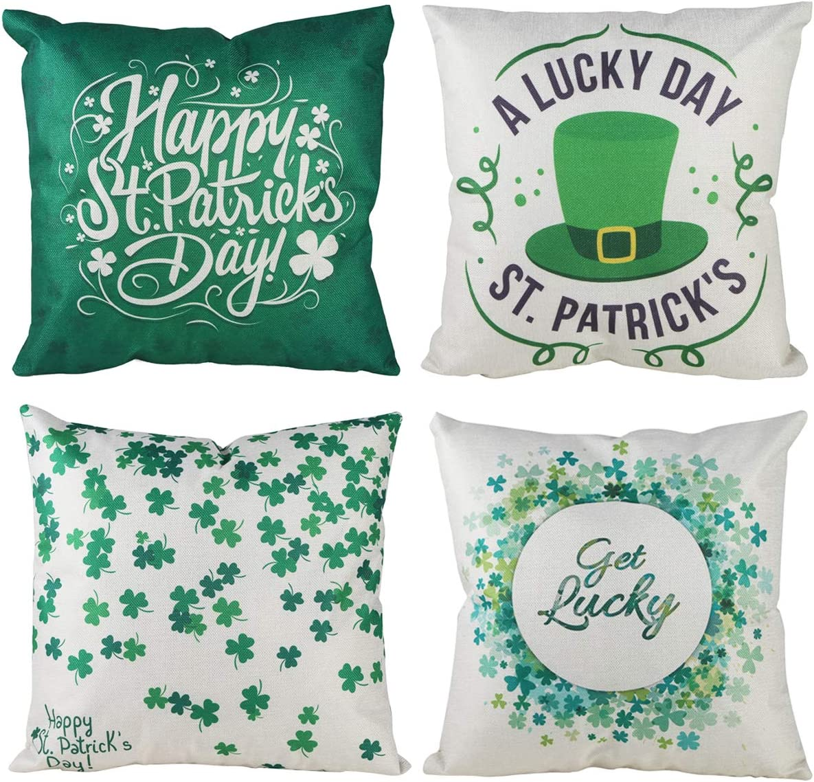XIECCX Throw Pillow Covers 18x18 Set of 4 Outdoor Pillowcases Summer Home Decorative Pillows for Couch Sofa Bed Breathable Linen with Hidden Zipper(ST.Patrick's Day)