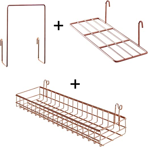 Surethingz Wire Wall Basket Black Wall Mount Organizer for Wall Grid Wall Decor Wire Storage Shelf Rack for Home Supplies Grid Basket with Hook