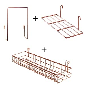 FRIADE Rose Gold Grid Basket With Hooks,Bookshelf,Display Shelf for Wall Grid Panel,Wall Mount Organizer and Storage Shelf Rack for Home Supplies,1 Set of 3 (Rose Gold)