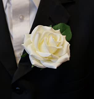 large boutonniere live feel real touch ivory keep sake boutonnierepin included