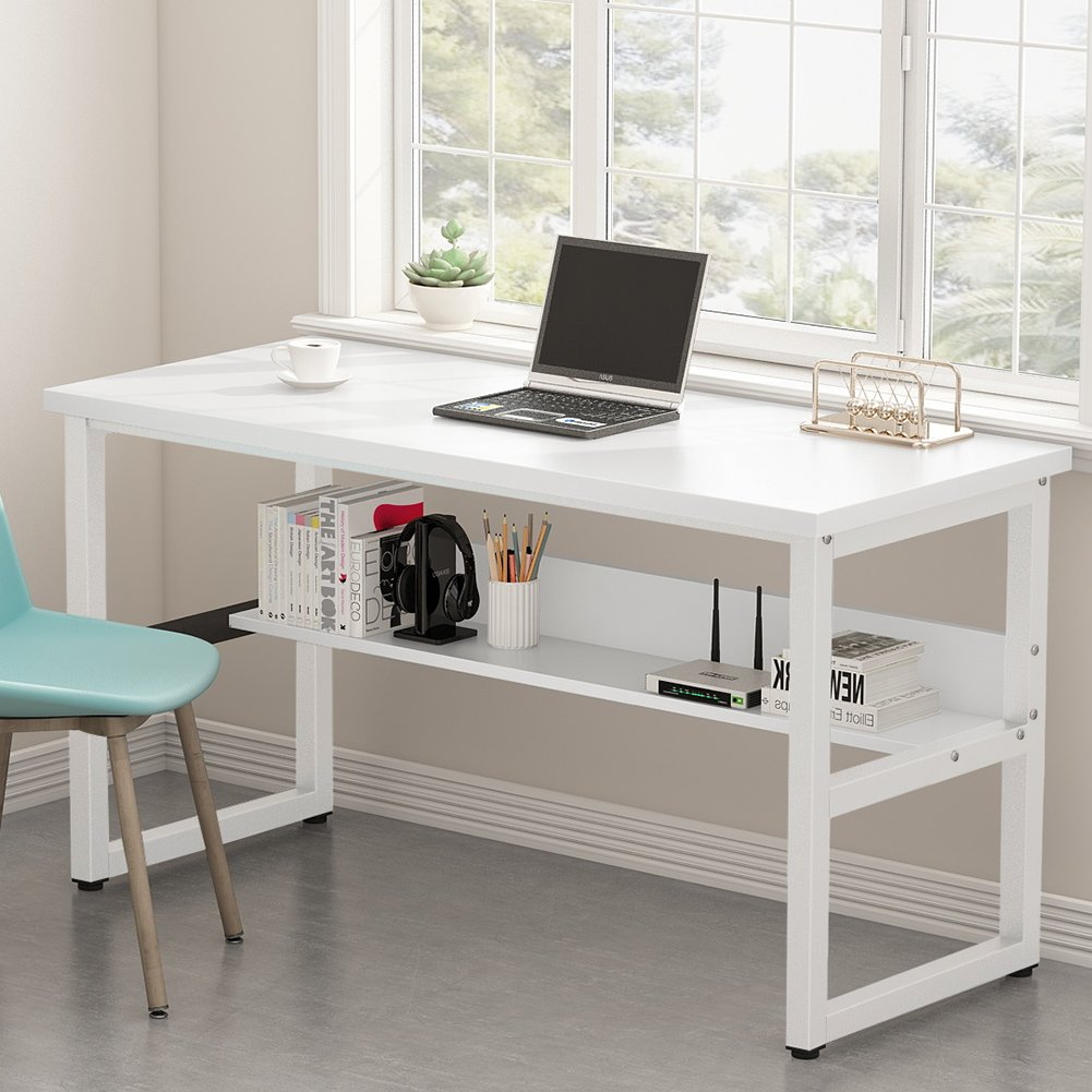 Tribesigns Computer Desk with Bookshelf Works as Office Desk Study Table Workstation for Home Office (55'', All White)