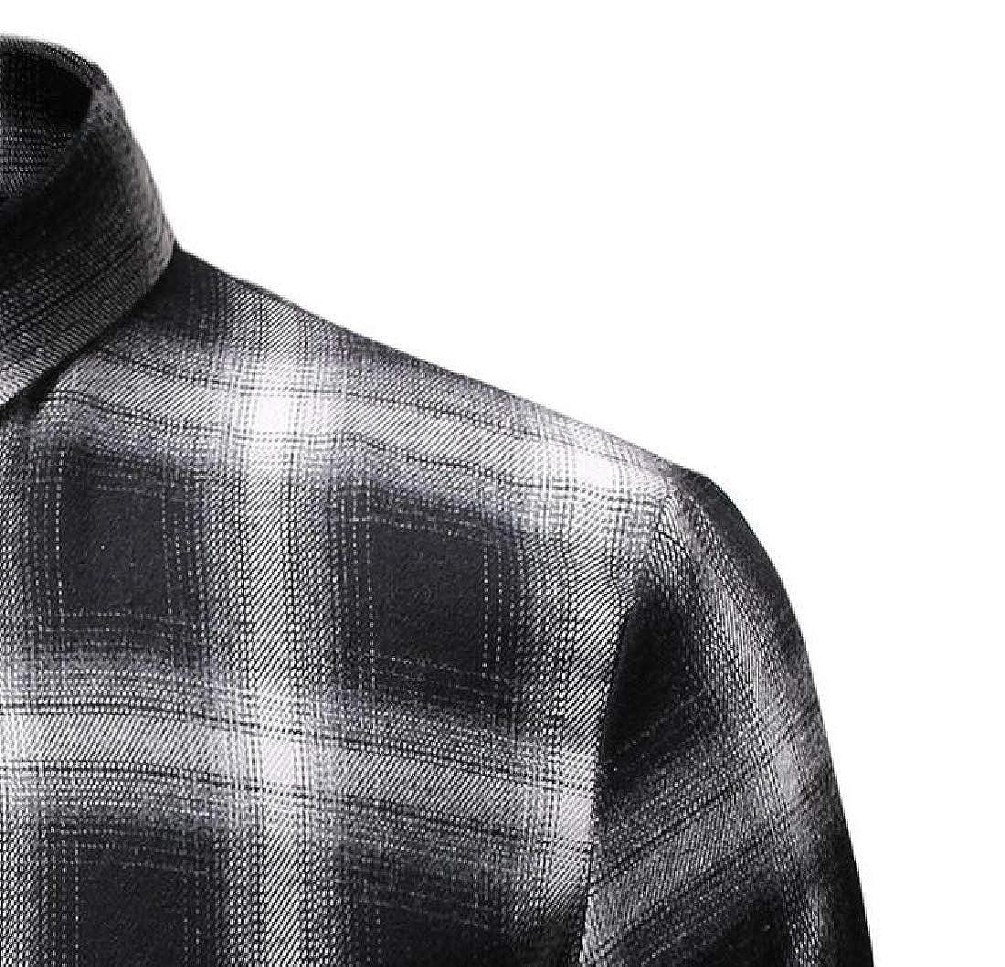 YIhujiuben Mens Long Sleeve Shirt Classic Custom Fit Plaid Button Down Dress Shirts