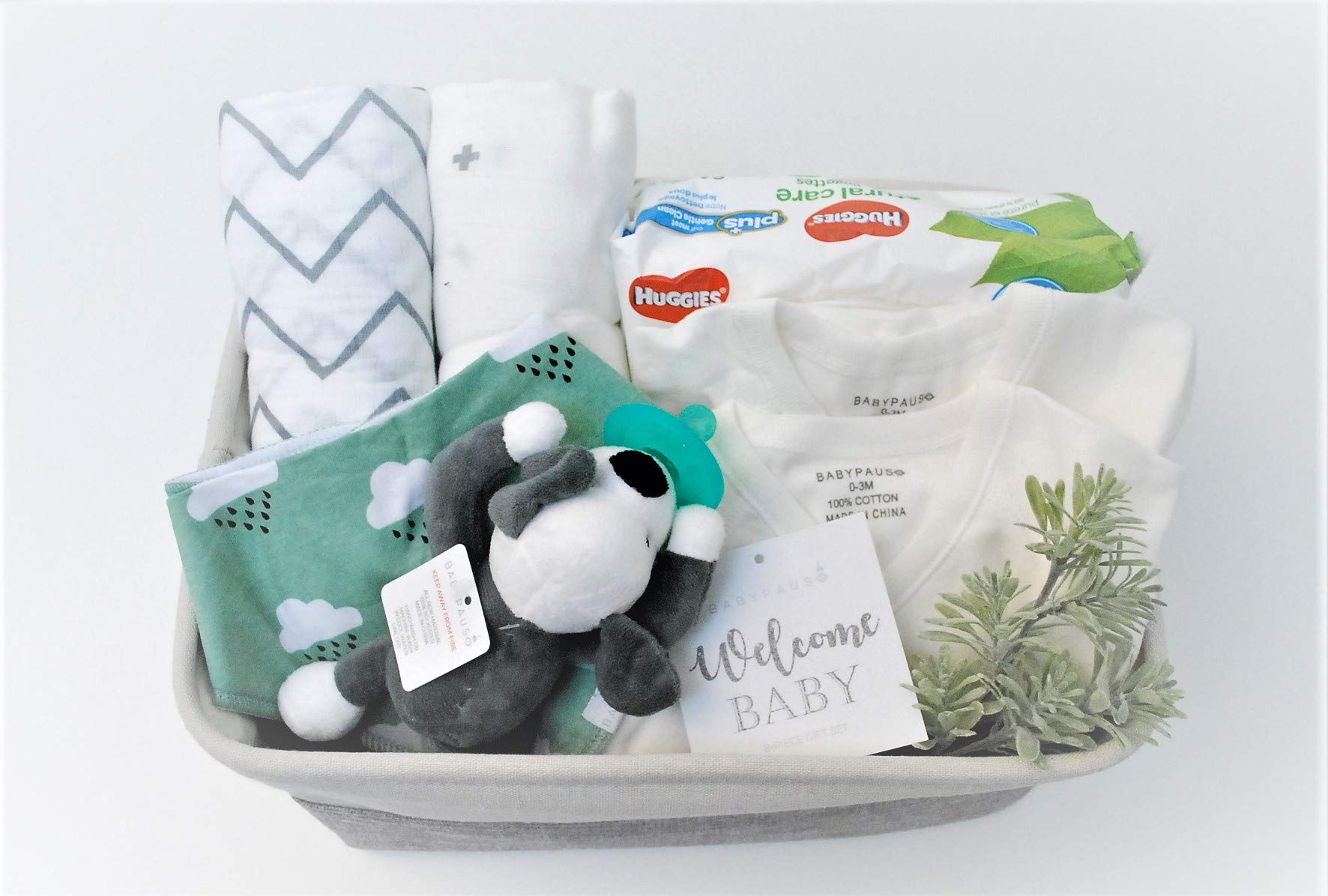 8 Piece Baby Boy Shower Gift Basket Set - Organic Cotton Bamboo Muslin Swaddle, Plush Animal Pacifier, Kimono Onesie Bodysuit, Multipurpose Diaper Basket, Bandana Bib - Green Clouds