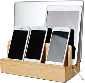 Bamboo Charging Station for Multiple Devices of Universal Cell Phones Tablets, Wooden Fast Phone Charging Docking Station for Cellphone Laptop Smart Tablet (NO Cables NO Power) & Organizer Dock