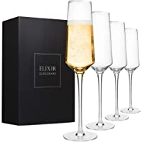 Classy Champagne Flutes - Hand Blown Crystal Champagne Glasses - Set of 4 Elegant Flutes, 100% Lead Free Premium Crystal…