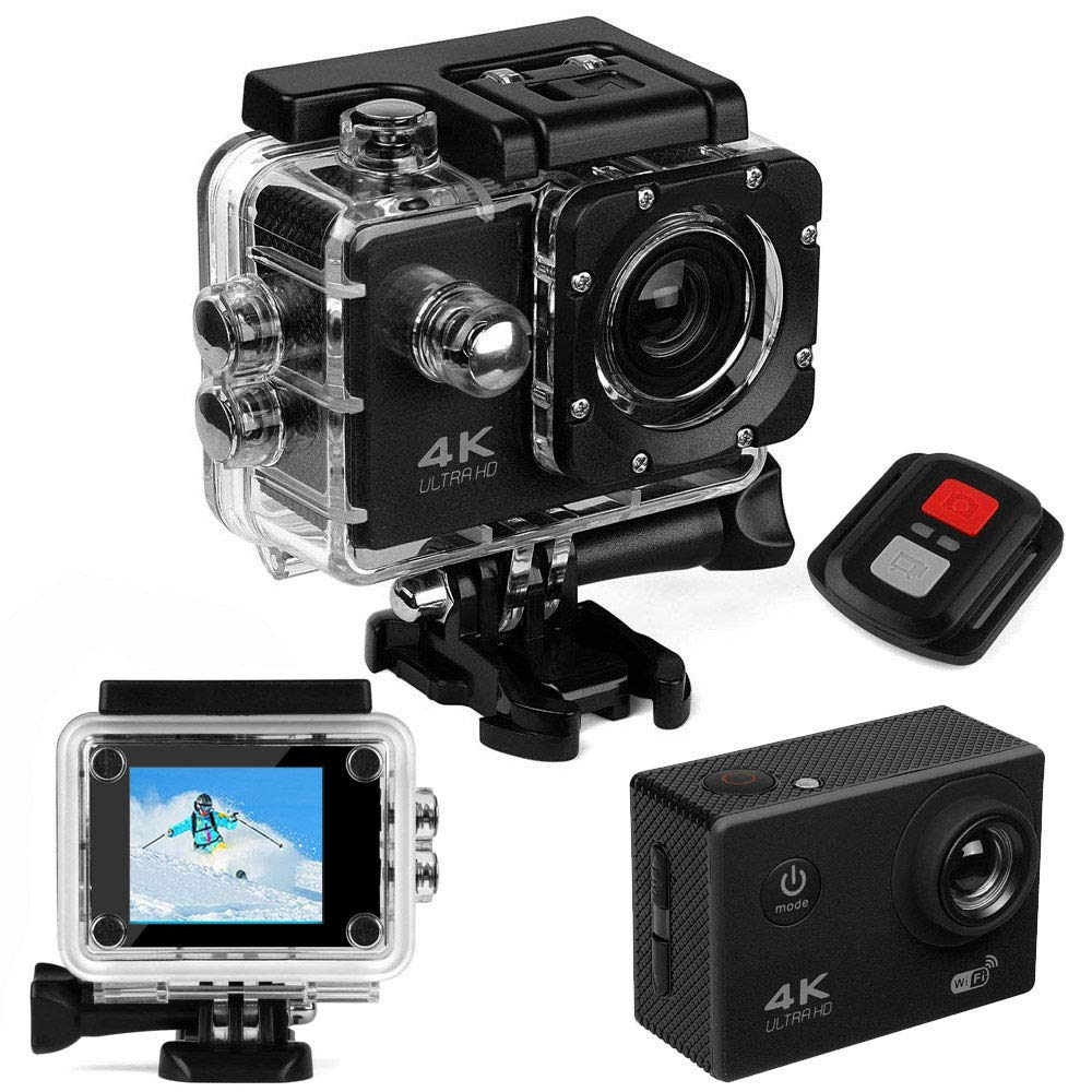 Sports Action Camera 4K Ultra hd WiFi Waterproof DV Camera 16MP 170 Degree Wide Angle Lens 2.0 inch LCD Screen is Designed Extreme Sports Tomor TM-B03