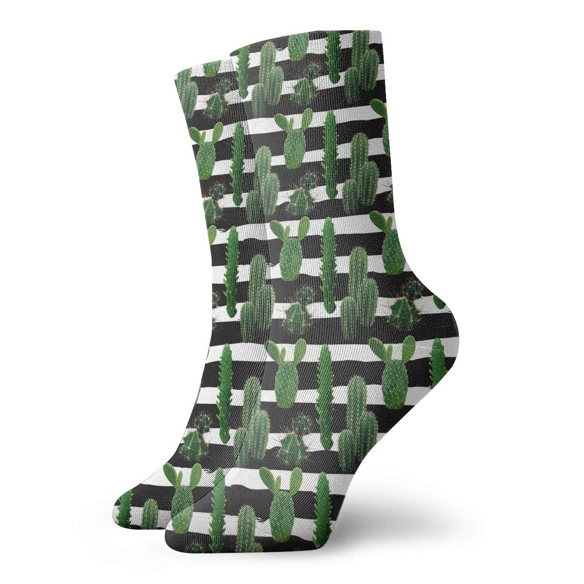 Unisex Cactus Plant Stripe Green Athletic Quarter Ankle Print Breathable Hiking Running Socks