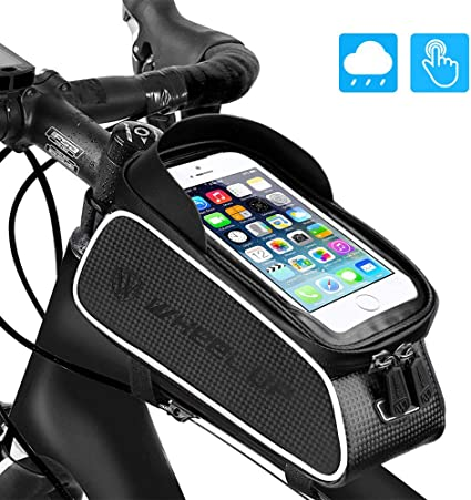 Bicycle Mobile Phone Pouch Handlebar Bag with Touch Screen Round Black