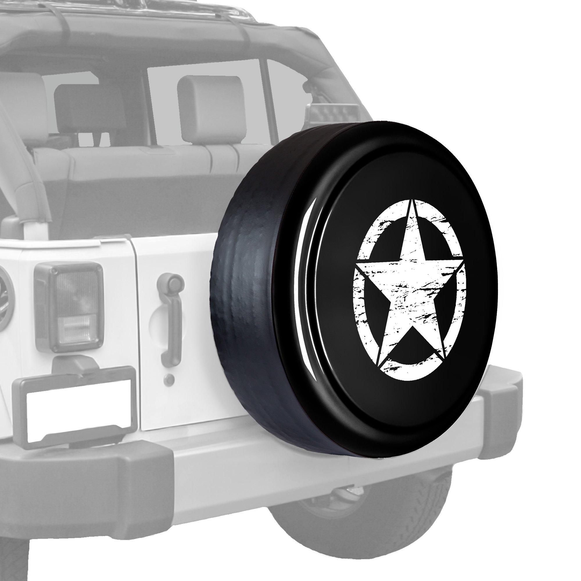 32'' Distressed Star - Rigid Tire Cover (Plastic Face & Vinyl Band) - 2007-2015 Jeep Wrangler (JK)- Unpainted Black