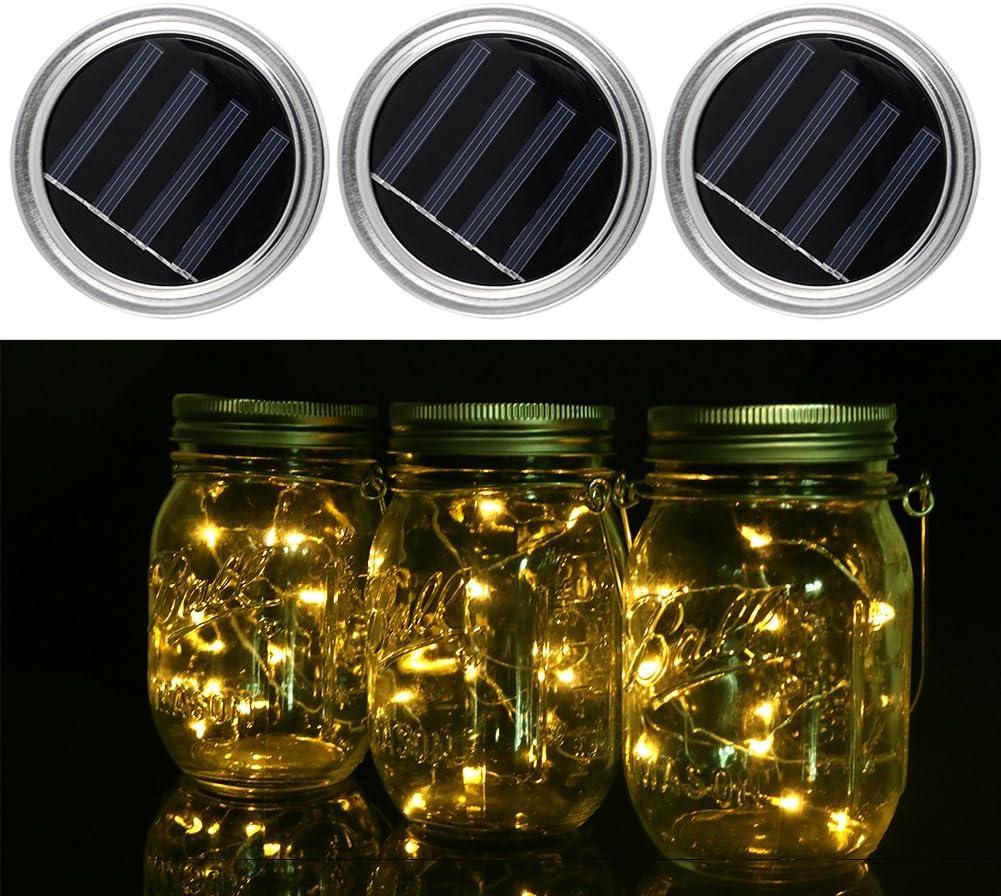 Pack de 3 luces solares Mason Jar Lid - Navidad, batería, guirnalda de luces LED, vaso, luz solar para exterior, jardín, Halloween, casa, fiesta, boda, decoración (sin bote)