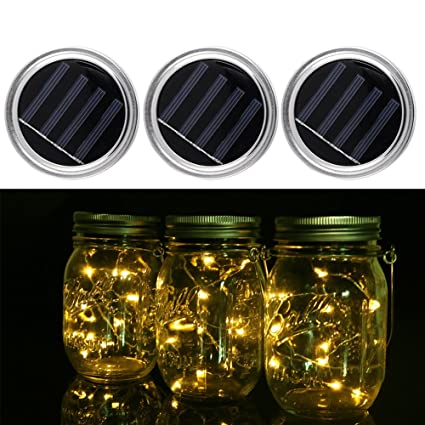 greendream 3 Pack Solar Mason tarro tapa Insertar(Mason Jar no incluido), 10